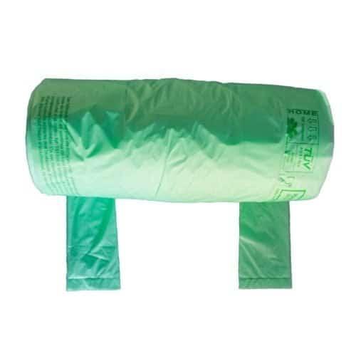 Rouleau de sacs à bretelles vert 23+12x45 cm