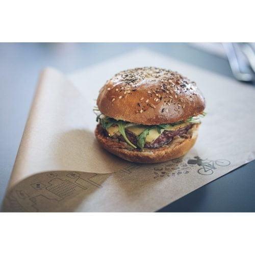 Papier burger Delivery avec un burger