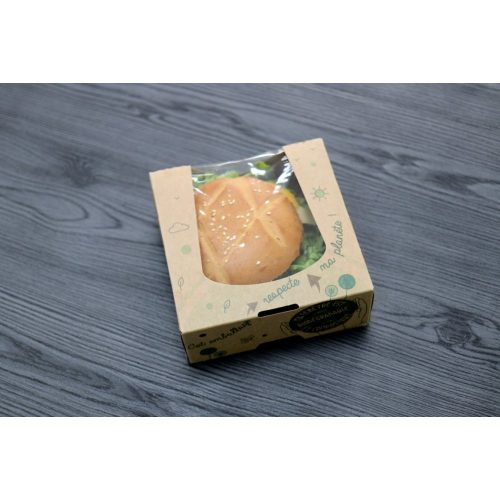 Boîte pâtissière Ma Planète avec film en cellulose. Taille 12x12x4 cm