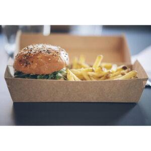 Boite allongée Delivery en kraft brun avec burger et frites - 22,5 x 12 x 7,5 cm