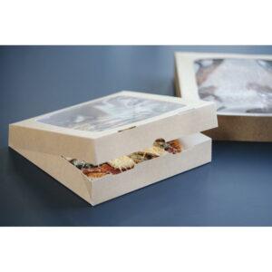 Boîtes pâtissières carrées de 24 cm avec fenêtre