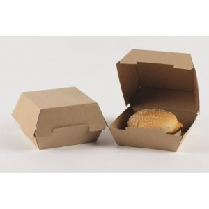 Boîte à burger en kraft brun 10,5x10,5x8,2 cm