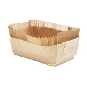 Barquette cuisson en bois 140x90x45 mm avec son papier sulfurisé