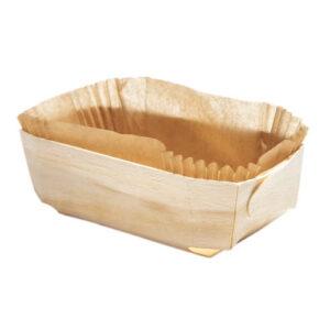 Barquette cuisson en bois 185x115x55 mm avec son papier sulfurisé