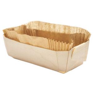 Barquette cuisson en bois 255x115x70 mm avec son papier sulfurisé