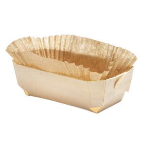 Barquette cuisson en bois 120x60x40 mm avec son papier sulfurisé